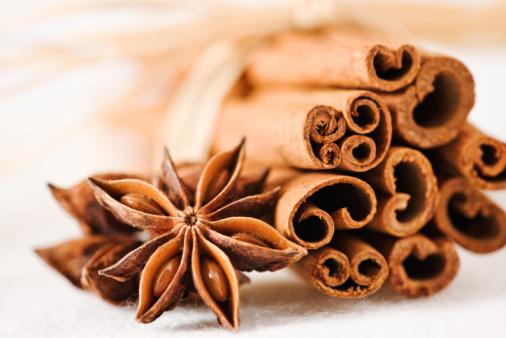 Cinnamon sticks with star anise.