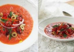 Гаспачо с запеченными томатами черри
