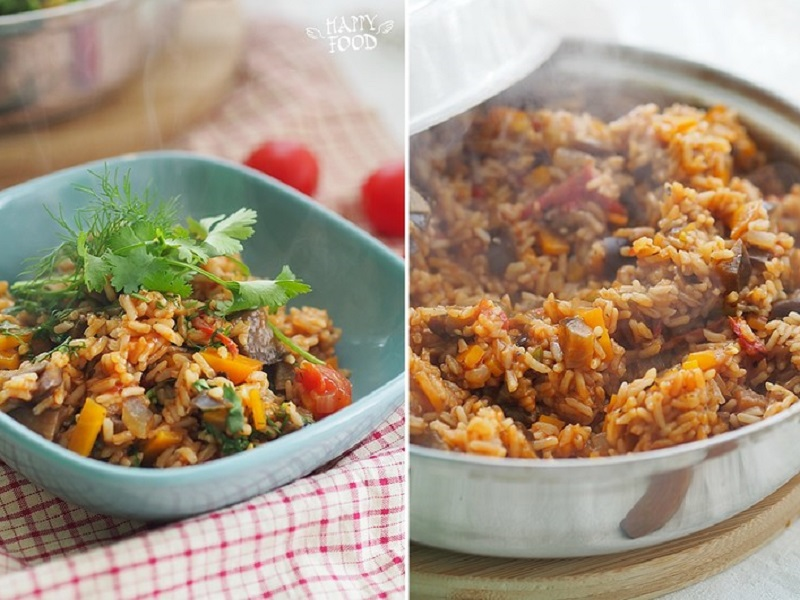 Рис с баклажаном и томатами