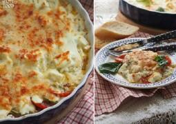 Гратен с кабачками, томатами и 3 видами сыра