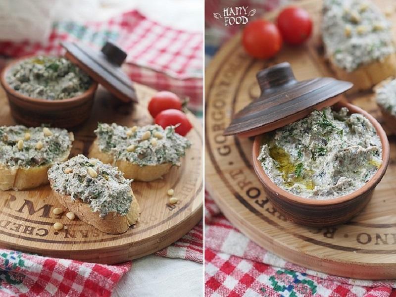 Грибной паштет с творогом и зеленью