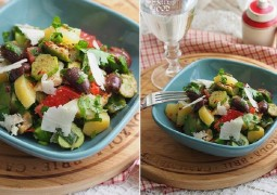 Картофельный салат с оливками, огурцом и сыром