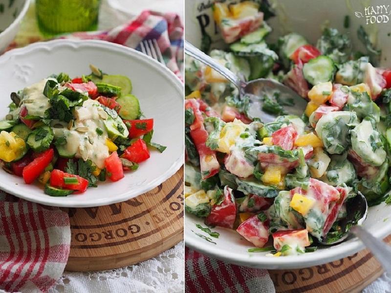 Салат овощной с соусом «райта»