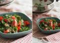 Теплый салат с баклажанами, чили и томатами
