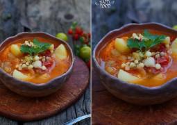 Томатный суп с баклажаном, кукурузой и бамией