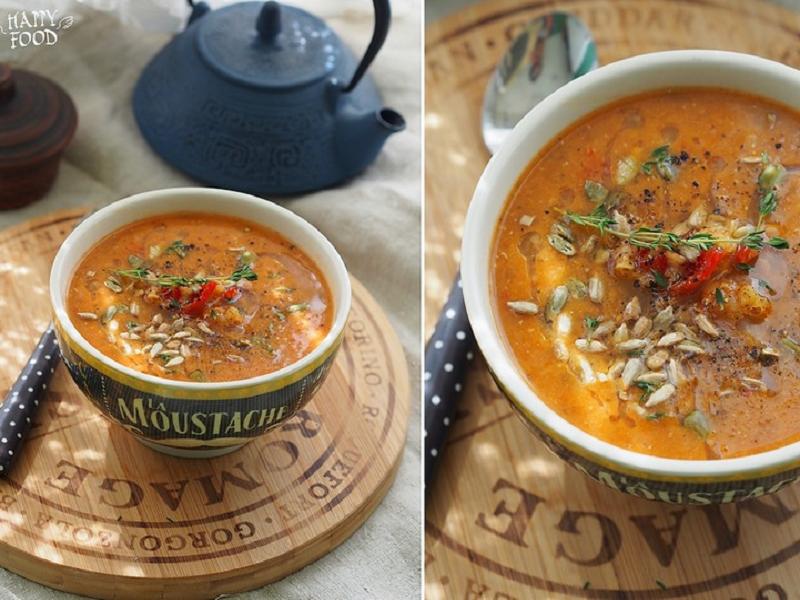 Чечевичный суп с томатами и баклажанами