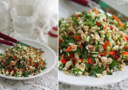 Салат с перловой крупой, зеленью и фетой