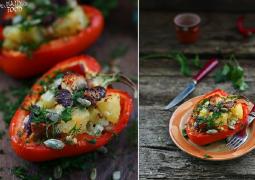 Запеченный перец с овощами и фетой
