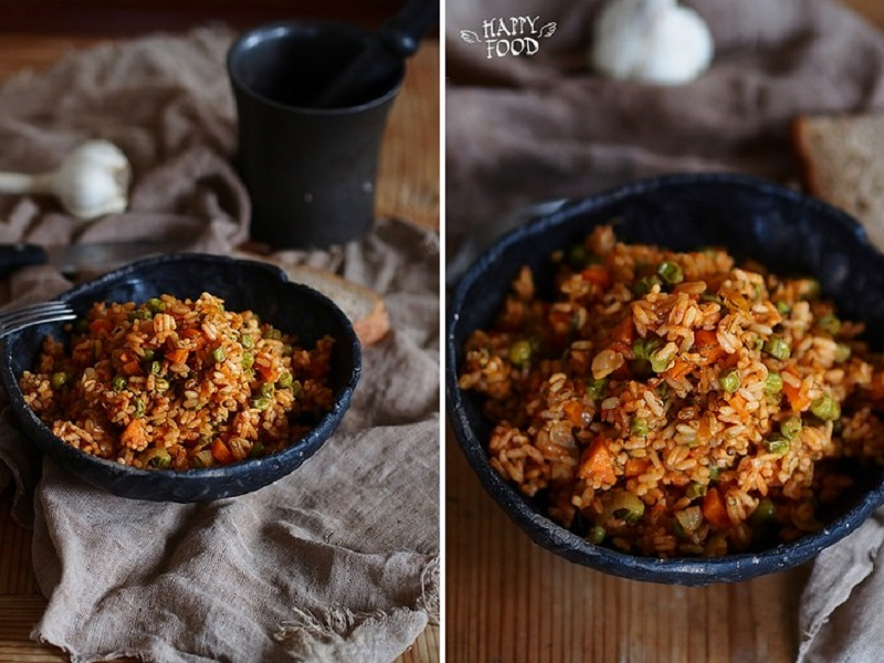 Рис с томатами и овощами