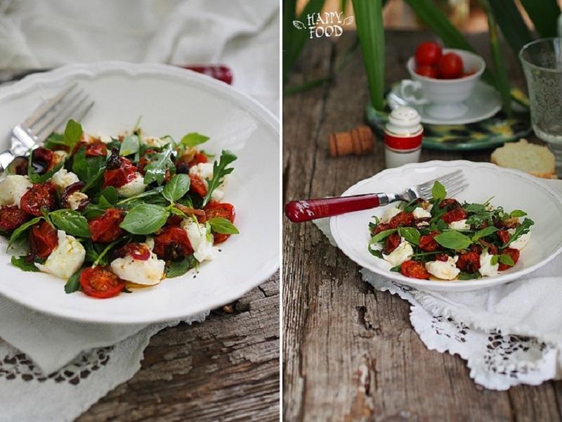 Салат из моцареллы и запеченных томатов черри