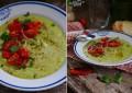 Суп из авокадо с томатами черри, перцем и кинзой