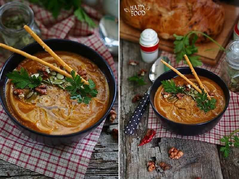 Тыквенный суп с карри и вялеными томатами