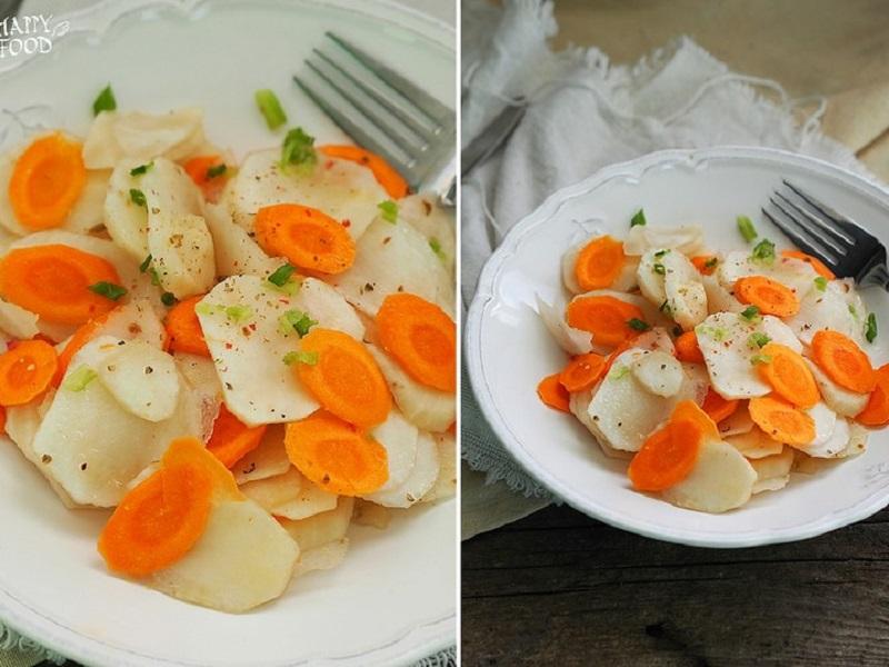 Простой салат из топинамбура и моркови