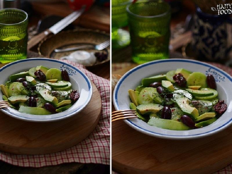 Простой салат с авокадо, огурцом и оливками