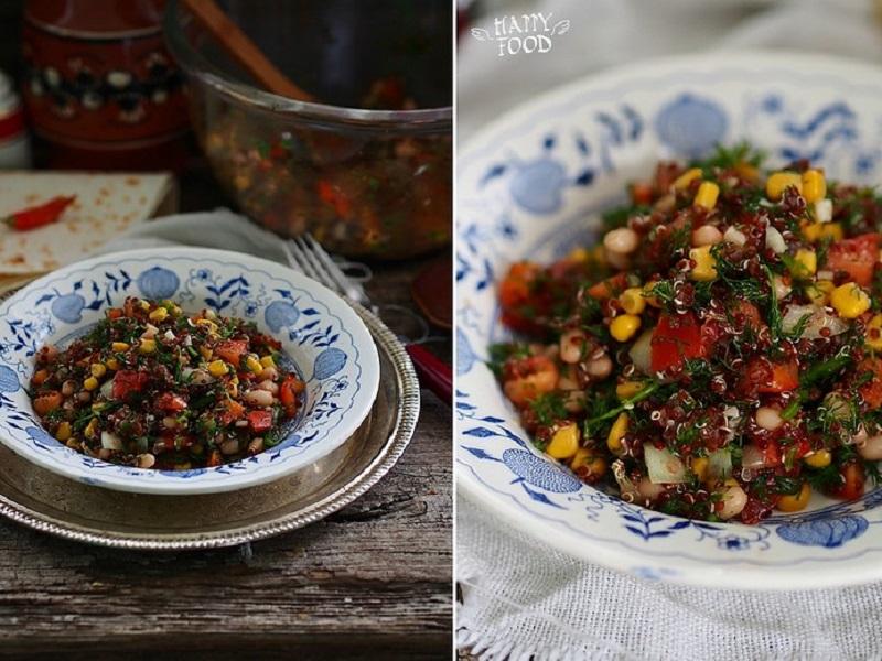 Салат с киноа, кукурузой и фасолью