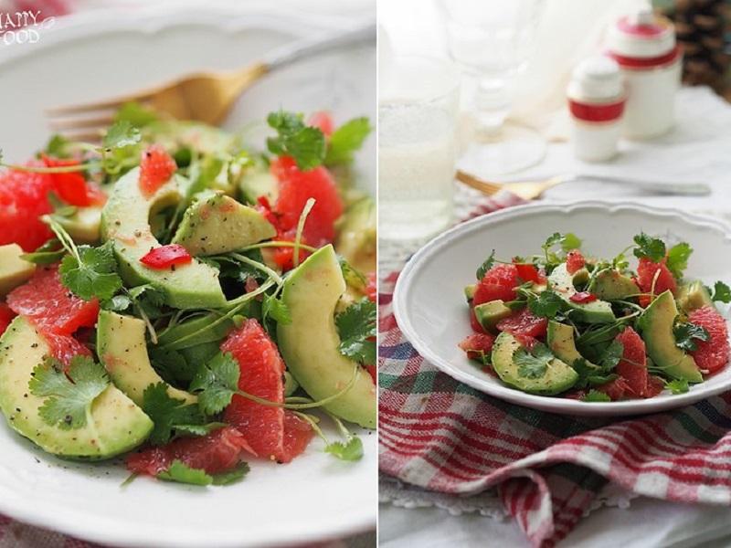 Витаминный салат с грейпфрутом, чили и авокадо