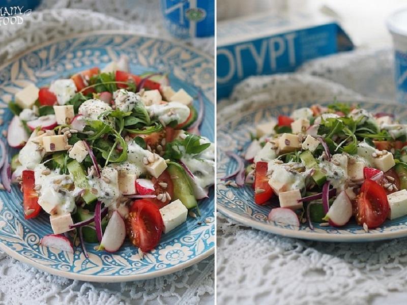 Овощной весенний салат с брынзой и йогуртовой заправкой