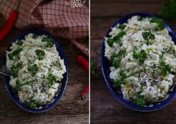 Рис со сливочным соусом с пореем и мускатным орехом