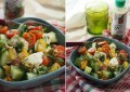 Салат с моцареллой, перцем, черри и заправкой