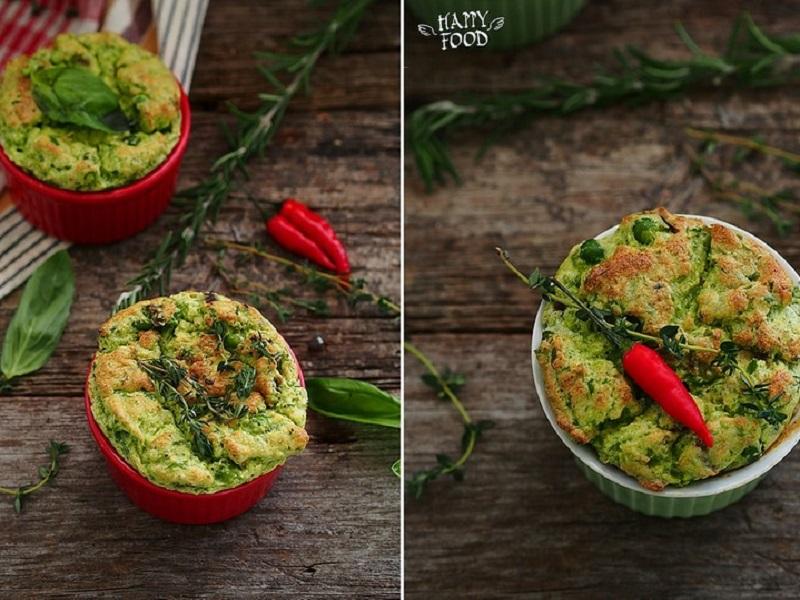 Суфле из зеленого горошка с пармезаном