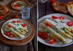 Белая спаржа с горчично-сырным соусом