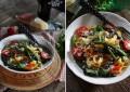 Фетучини со спаржей, томатами и кинзой