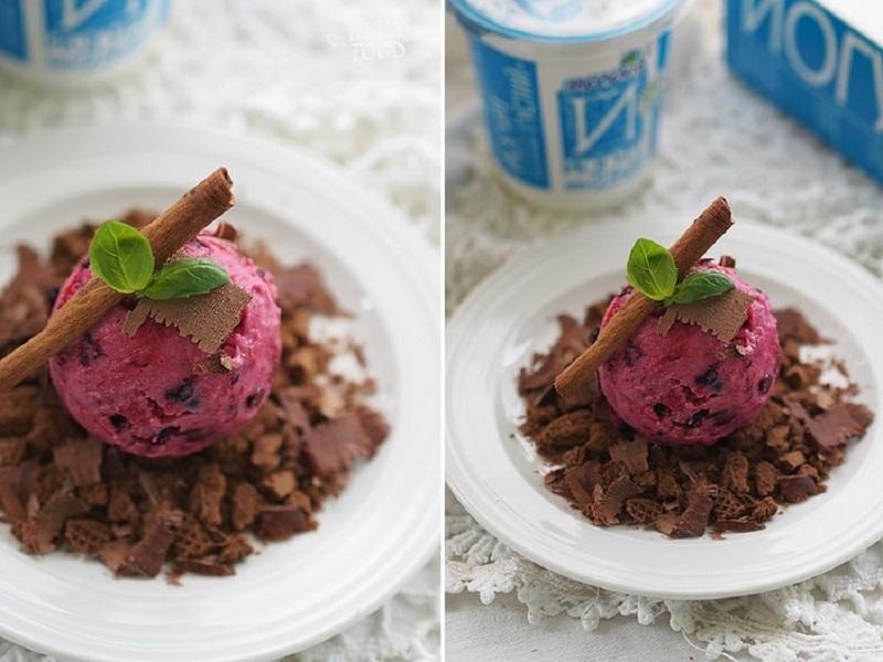 Йогуртовое мороженое с земляникой, малиной, черникой и базиликом с шоколадной подушкой
