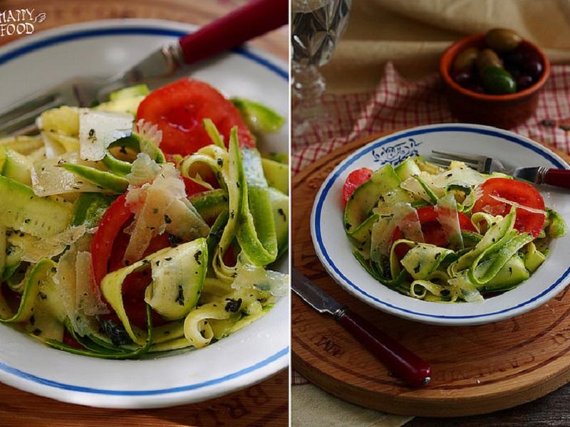 Простой салат с цуккини , томатами и пармезаном — insalata di zucchine novelle