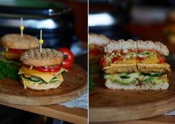 Вегетарианский бургер с фасолевой котлетой и овощами