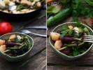 Картофель с садовой зеленью, чесночными стрелками и юной свеклой