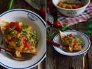Пряный салат из овощей гриль с багетом
