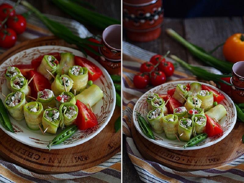 Рулетики из кабачков гриль с сыром и томатами