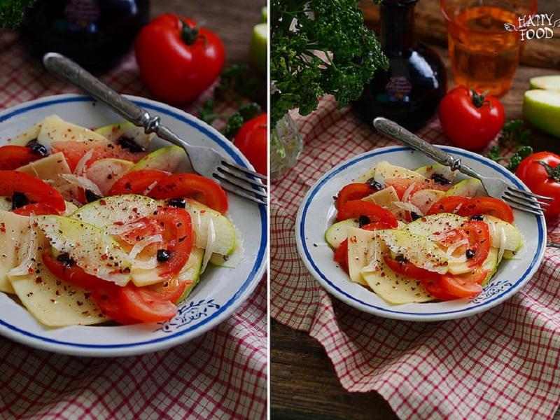Салат с яблоком, томатами и сыром