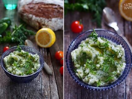 Чесночное картофельное пюре с маслом, лимоном и зеленью