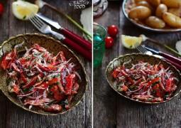 Хрустящий салат с фетой, чили, луком и мятой