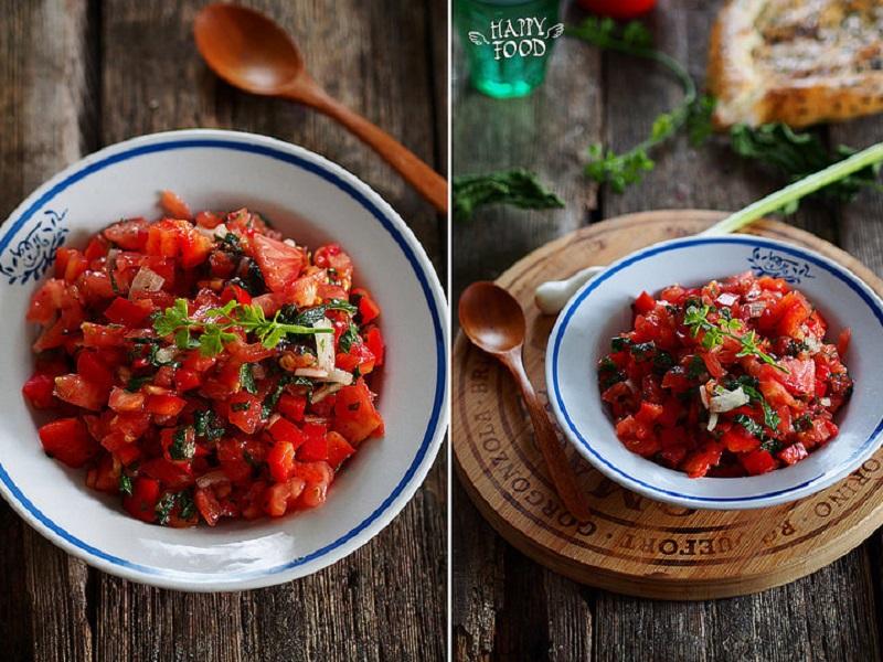 Простой салат/закуска из перцев, томатов и мяты