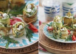 Рулетики из кабачков с зернистым творогом, оливками и зеленью