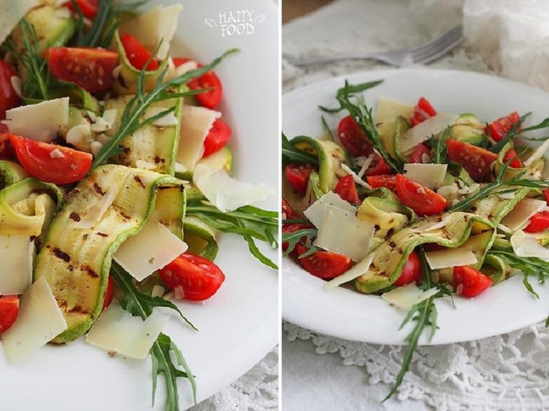 Салат с томатами черри и грильованным кабачком