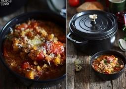 Чечевичный суп с грибами и баклажанами