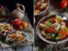Турецкий салат с перцем гриль, хлебом и гранатовым сиропом